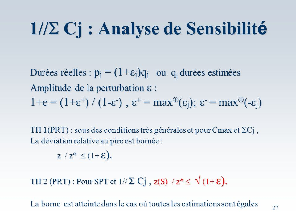 1//S Cj : Analyse de Sensibilité