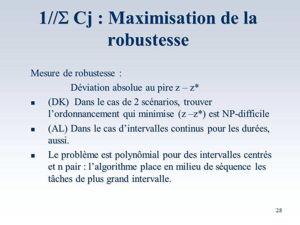 1//S Cj : Maximisation de la robustesse