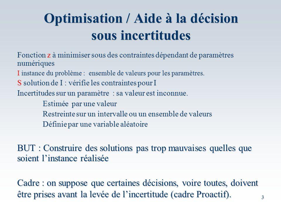 Optimisation / Aide à la décision sous incertitudes