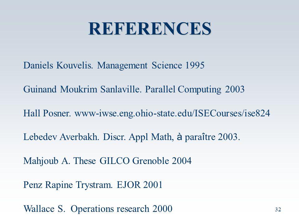 REFERENCES Daniels Kouvelis. Management Science 1995