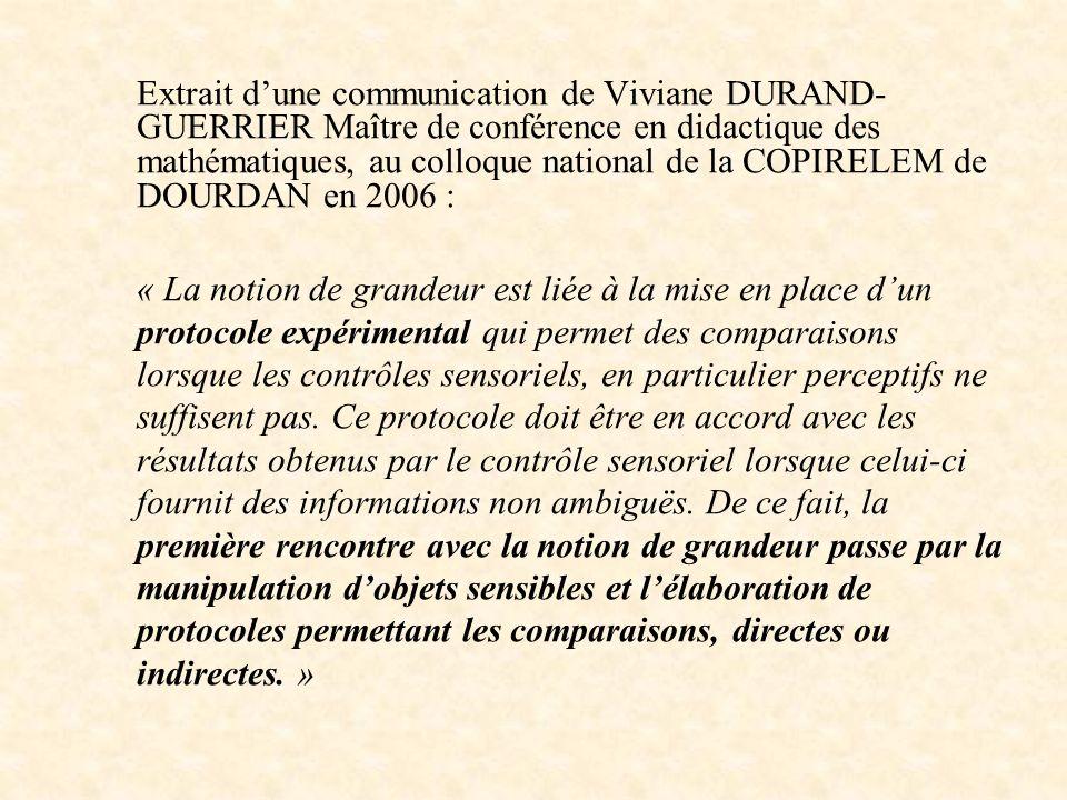 Extrait d'une communication de Viviane DURAND-GUERRIER Maître de conférence en didactique des mathématiques, au colloque national de la COPIRELEM de DOURDAN en 2006 :