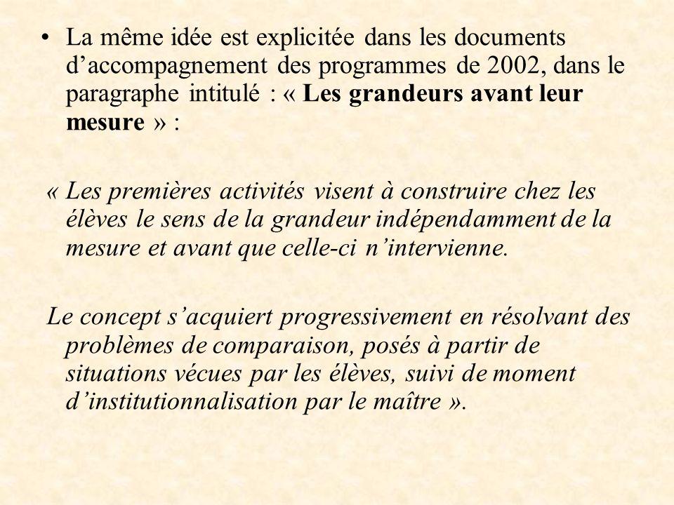 La même idée est explicitée dans les documents d'accompagnement des programmes de 2002, dans le paragraphe intitulé : « Les grandeurs avant leur mesure » :