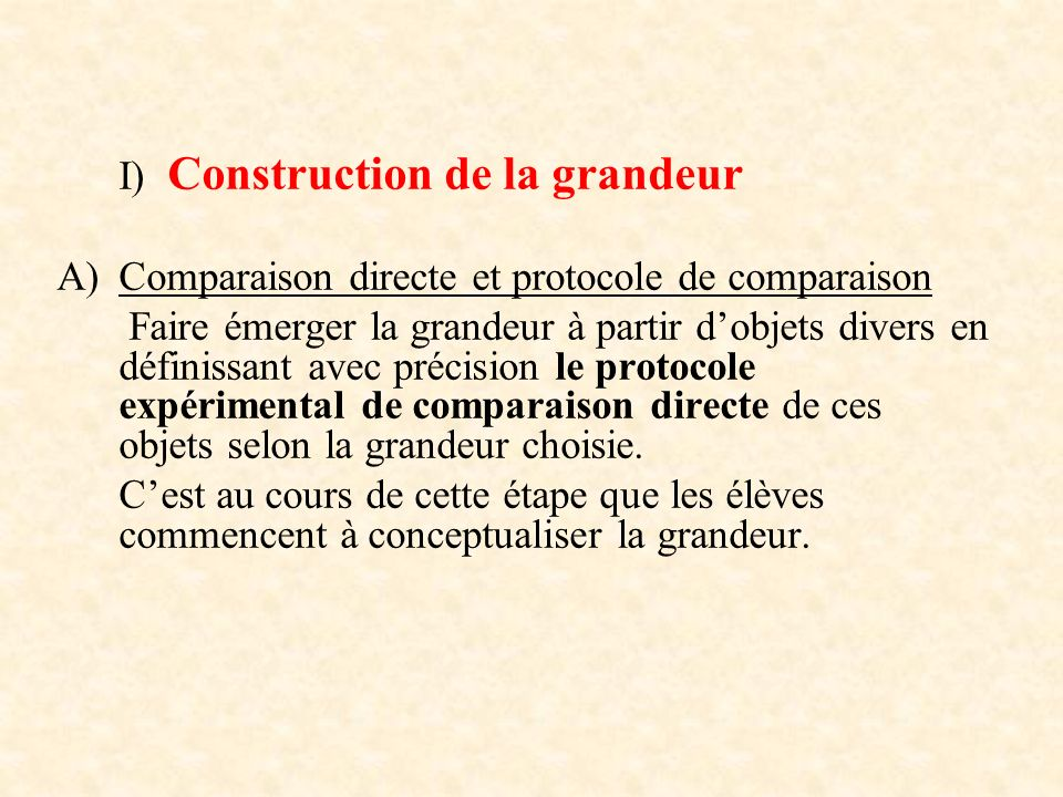 I) Construction de la grandeur