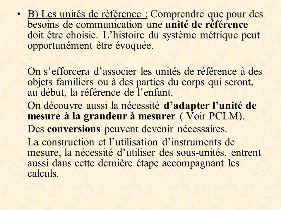 B) Les unités de référence : Comprendre que pour des besoins de communication une unité de référence doit être choisie. L'histoire du système métrique peut opportunément être évoquée.
