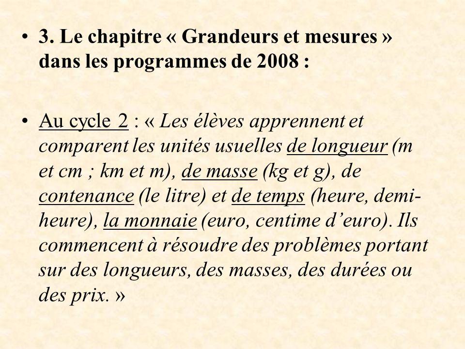 3. Le chapitre « Grandeurs et mesures » dans les programmes de 2008 :
