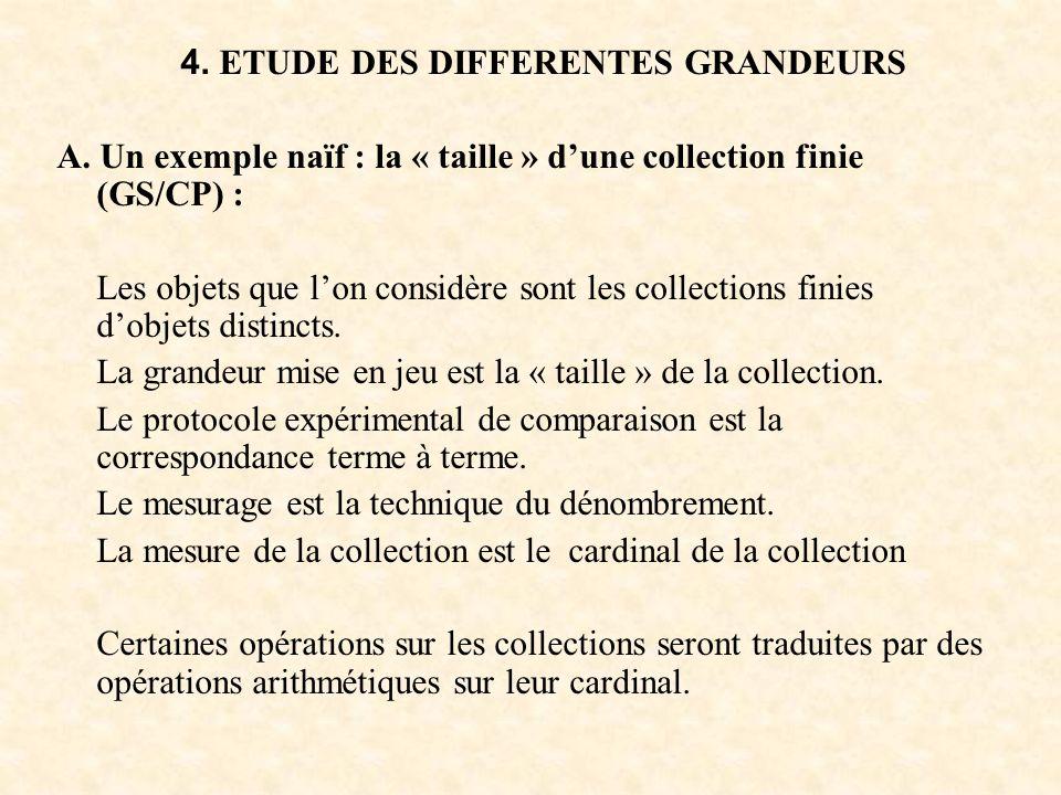 4. ETUDE DES DIFFERENTES GRANDEURS