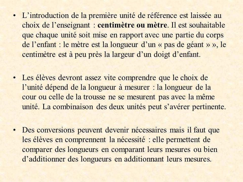 L'introduction de la première unité de référence est laissée au choix de l'enseignant : centimètre ou mètre. Il est souhaitable que chaque unité soit mise en rapport avec une partie du corps de l'enfant : le mètre est la longueur d'un « pas de géant » », le centimètre est à peu près la largeur d'un doigt d'enfant.