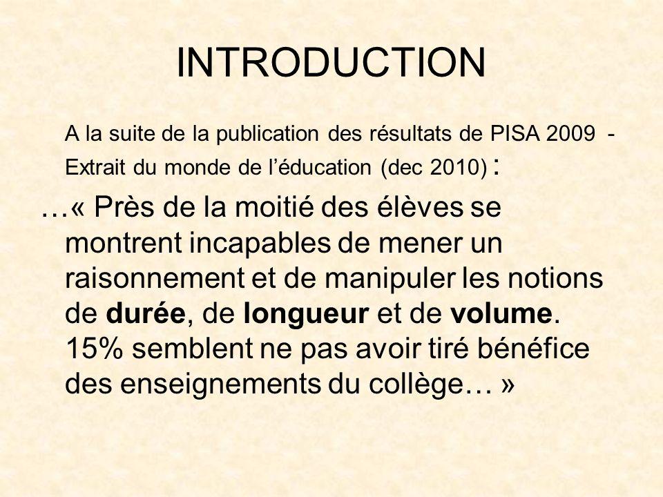 INTRODUCTION A la suite de la publication des résultats de PISA 2009 - Extrait du monde de l'éducation (dec 2010) :