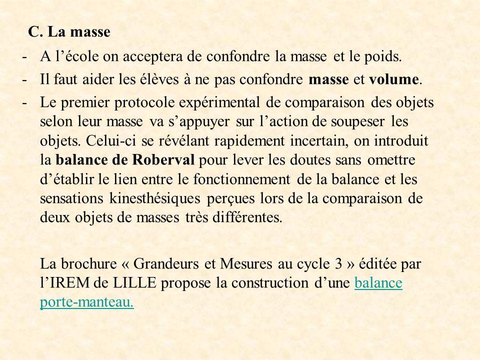 C. La masse A l'école on acceptera de confondre la masse et le poids.
