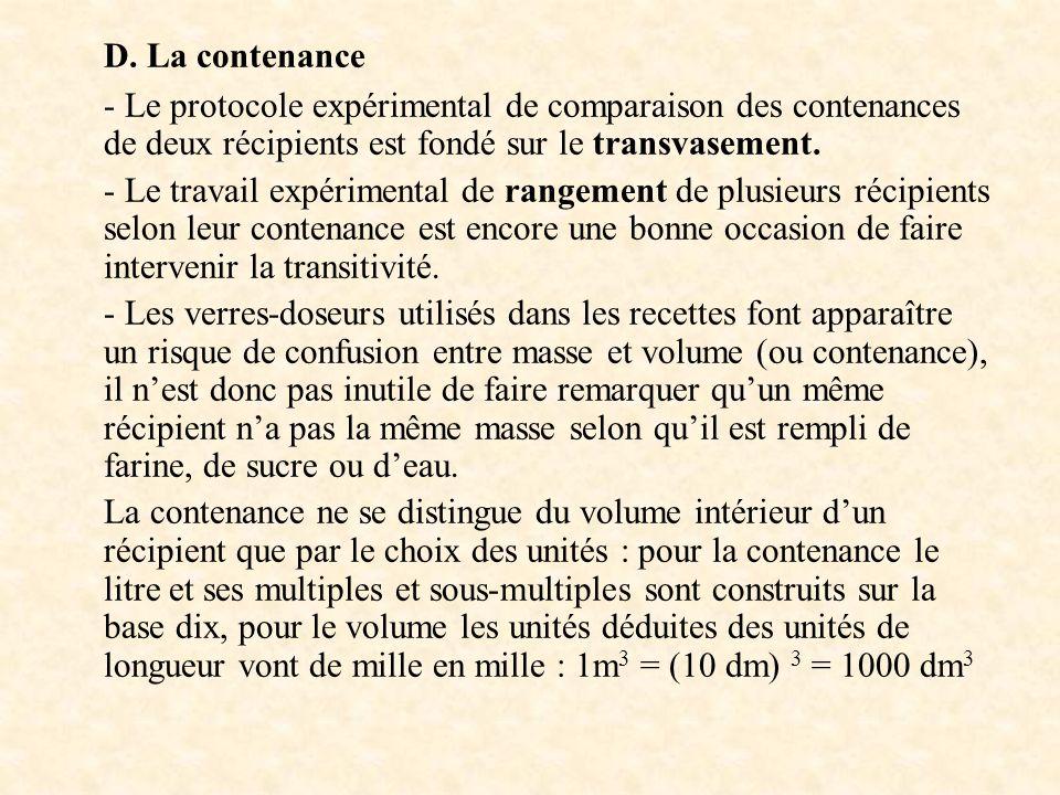 D. La contenance - Le protocole expérimental de comparaison des contenances de deux récipients est fondé sur le transvasement.