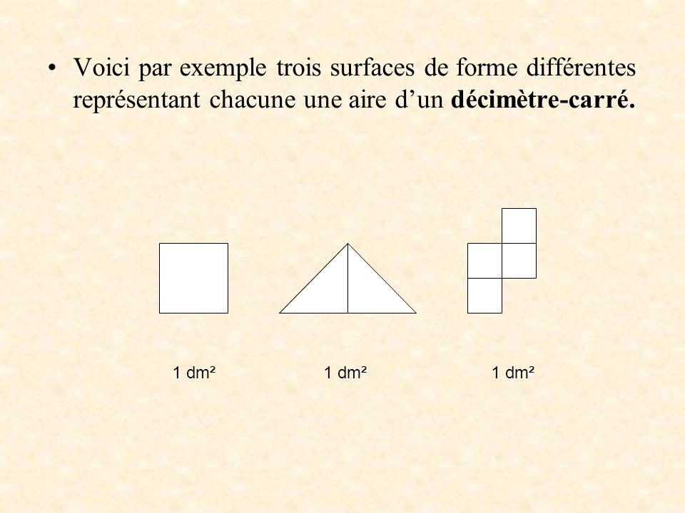 Voici par exemple trois surfaces de forme différentes représentant chacune une aire d'un décimètre-carré.