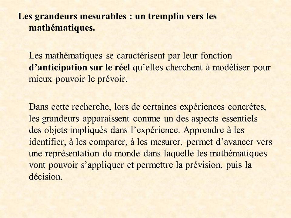 Les grandeurs mesurables : un tremplin vers les mathématiques.
