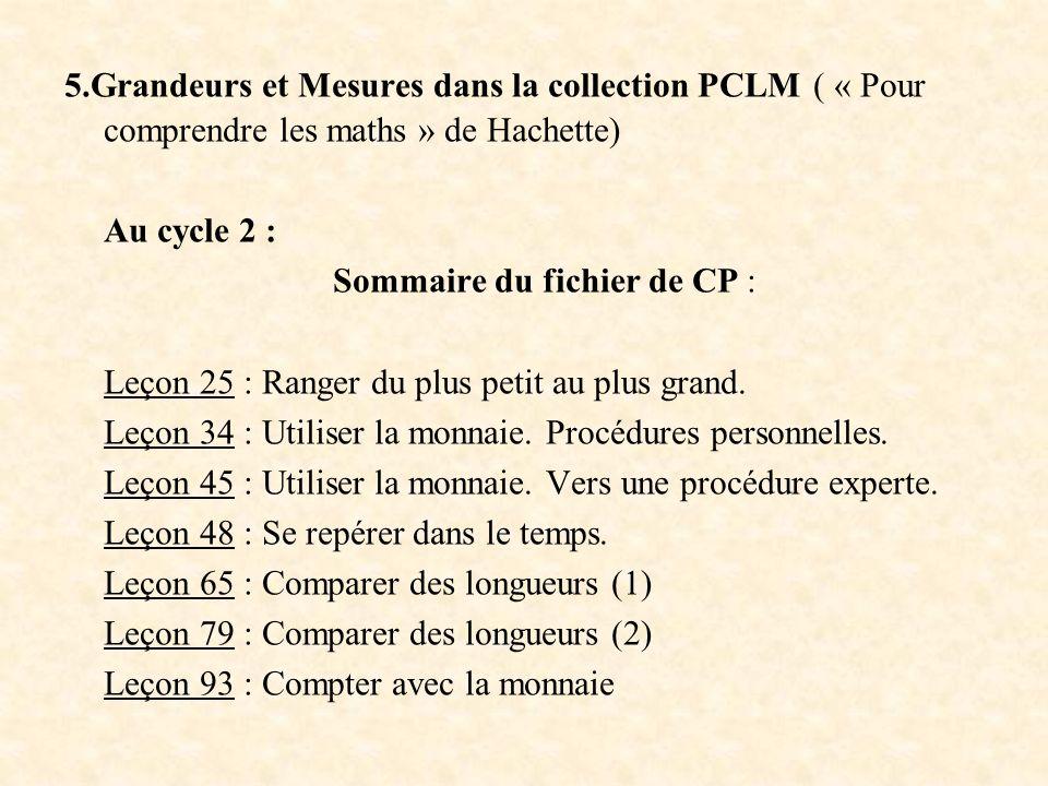 Sommaire du fichier de CP :