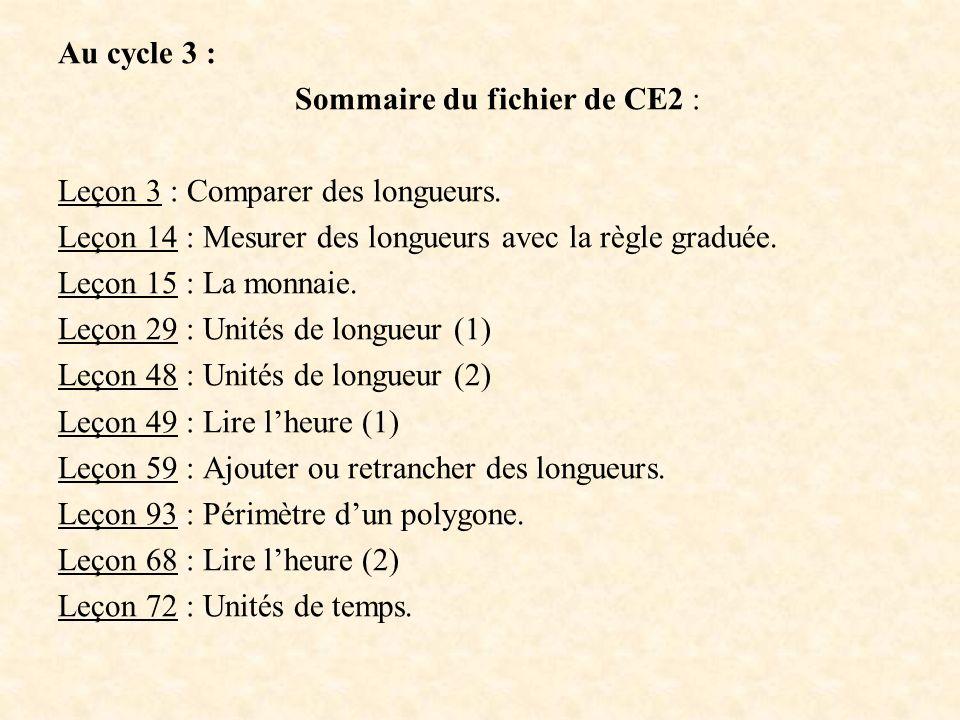 Sommaire du fichier de CE2 :