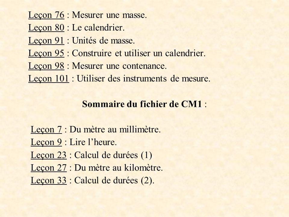 Sommaire du fichier de CM1 :