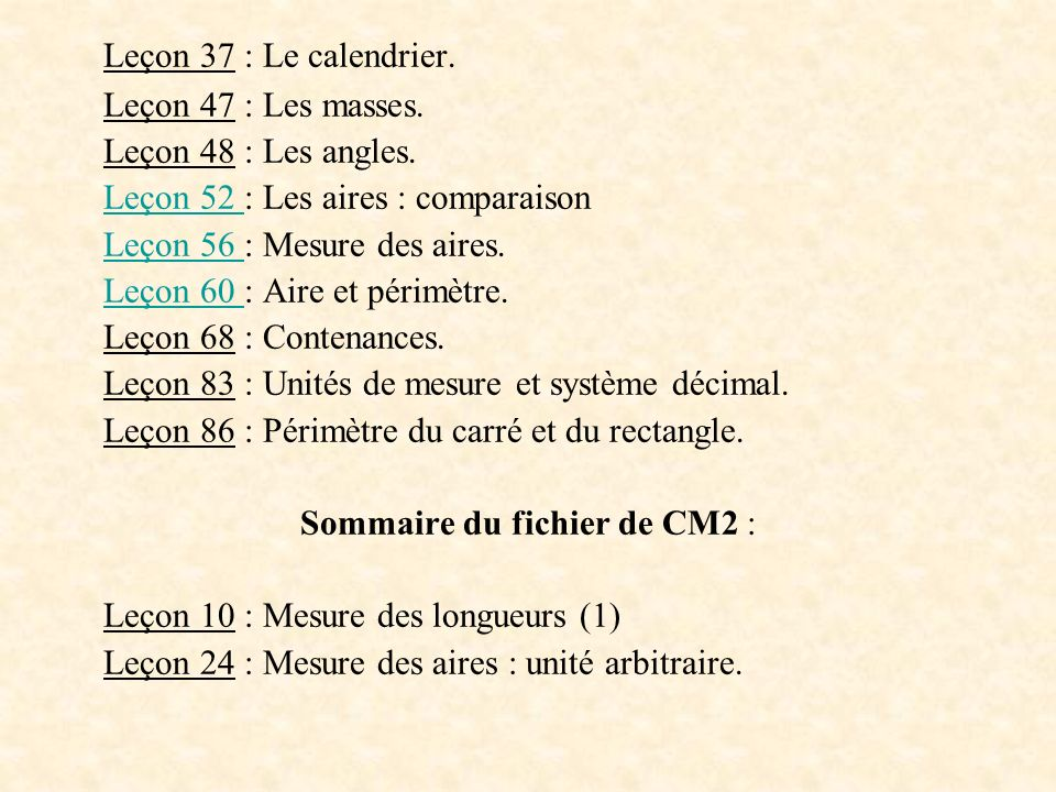 Sommaire du fichier de CM2 :