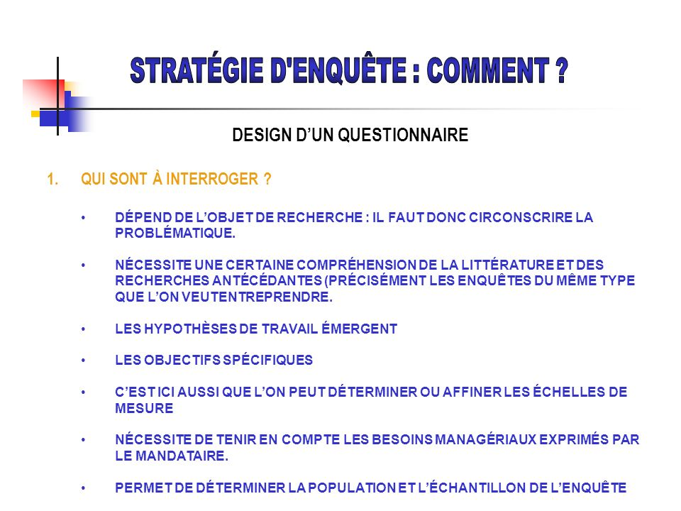 DESIGN D'UN QUESTIONNAIRE