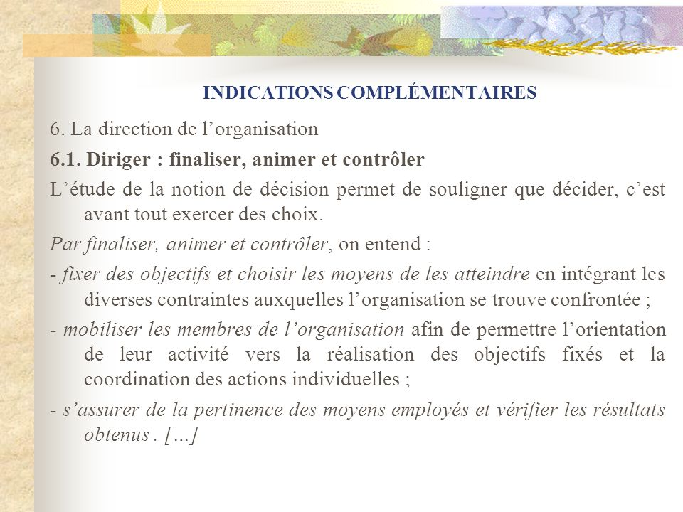 INDICATIONS COMPLÉMENTAIRES