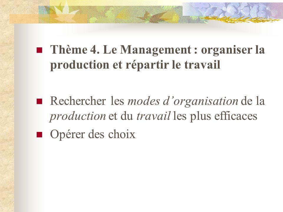 Thème 4. Le Management : organiser la production et répartir le travail