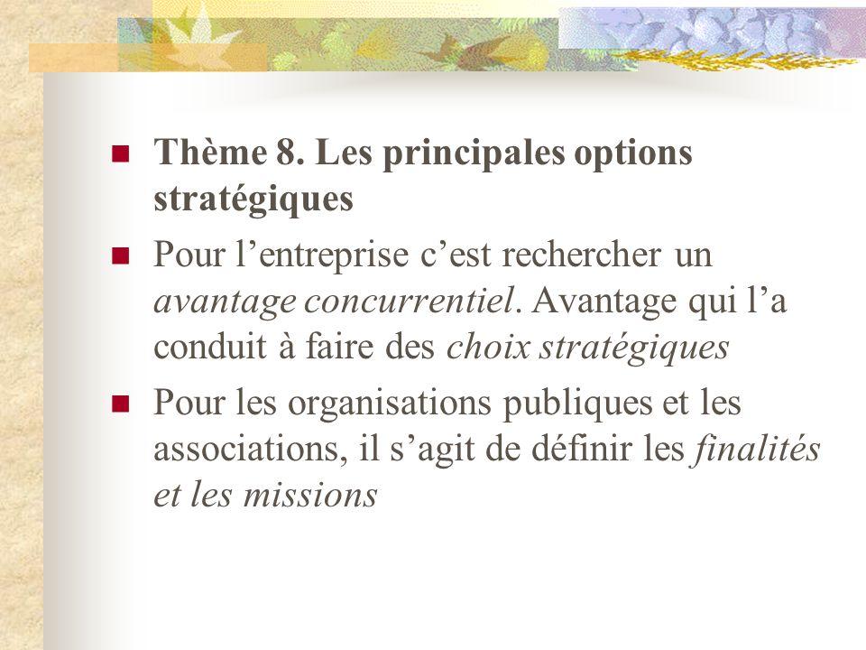 Thème 8. Les principales options stratégiques
