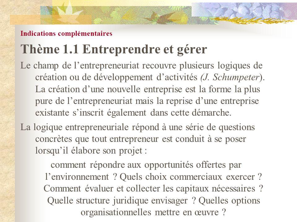 Thème 1.1 Entreprendre et gérer