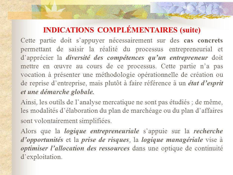 INDICATIONS COMPLÉMENTAIRES (suite)