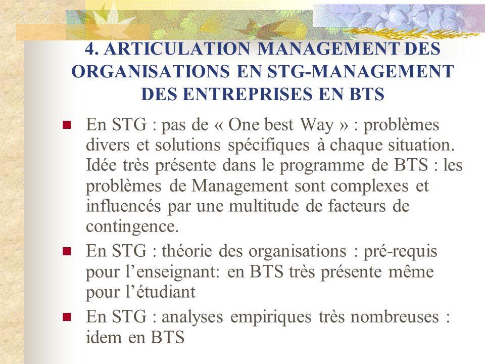 4. ARTICULATION MANAGEMENT DES ORGANISATIONS EN STG-MANAGEMENT DES ENTREPRISES EN BTS