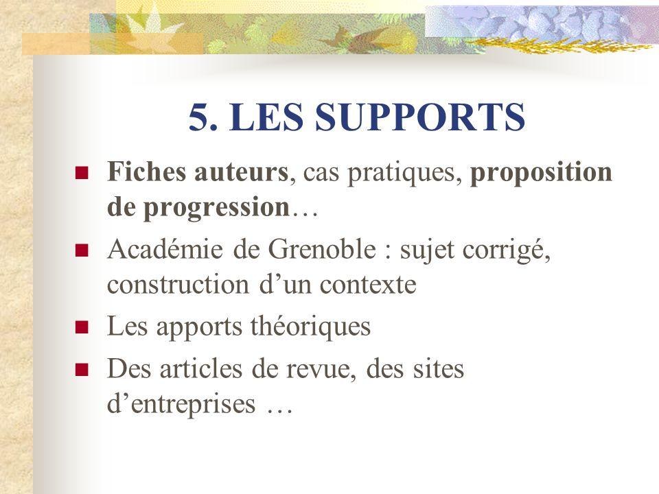 5. LES SUPPORTS Fiches auteurs, cas pratiques, proposition de progression… Académie de Grenoble : sujet corrigé, construction d'un contexte.