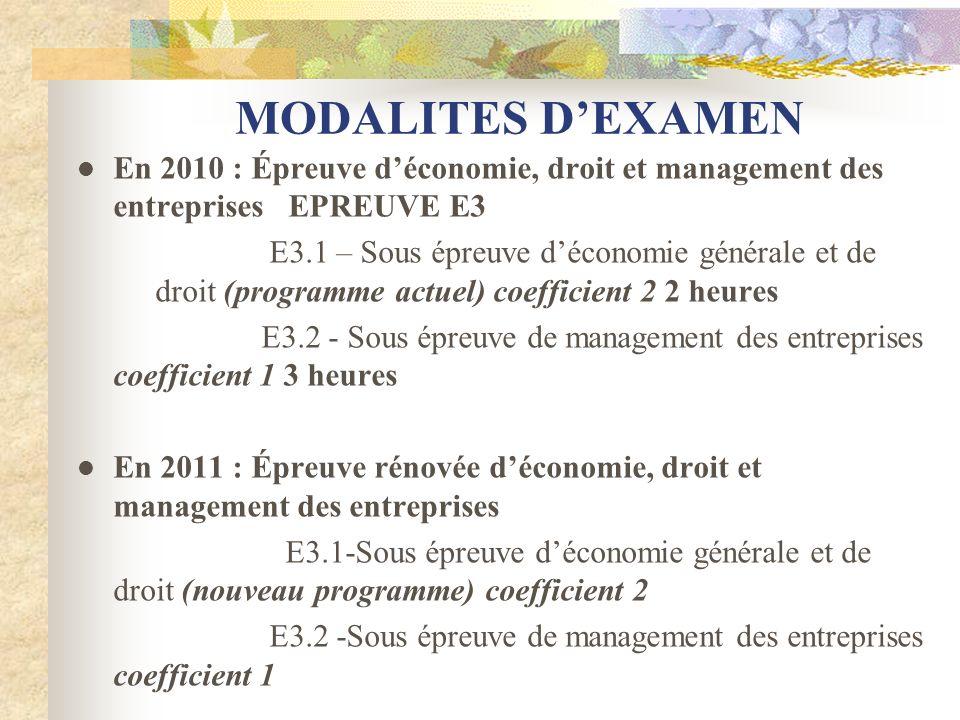 MODALITES D'EXAMEN En 2010 : Épreuve d'économie, droit et management des entreprises EPREUVE E3.