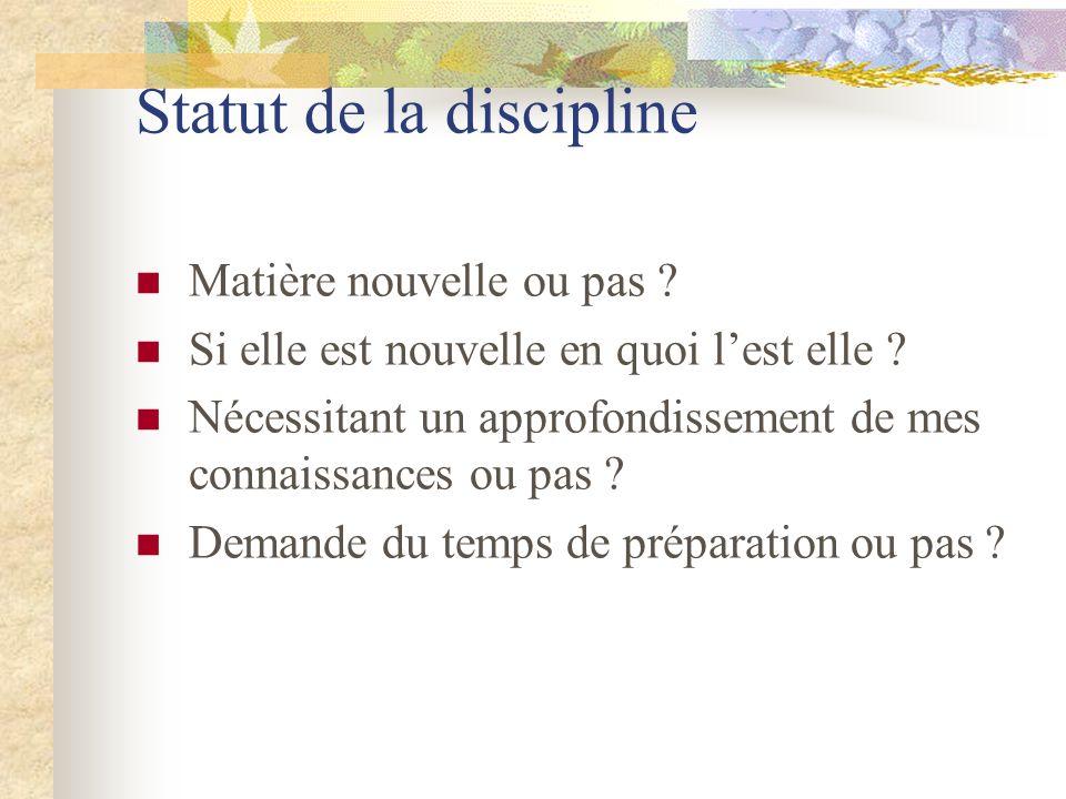 Statut de la discipline