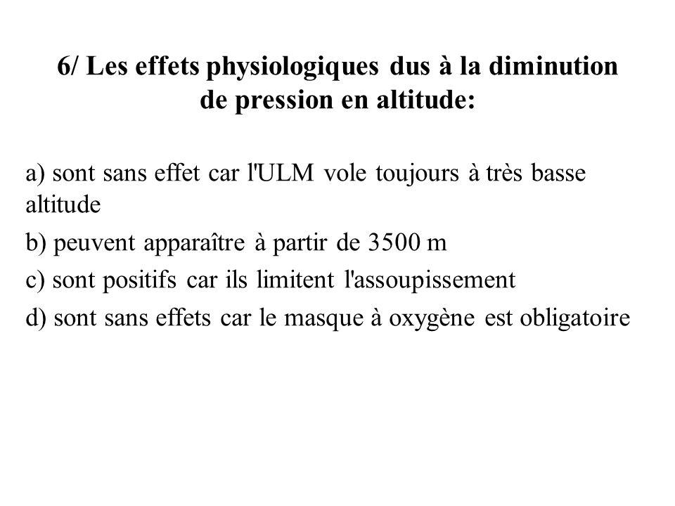 6/ Les effets physiologiques dus à la diminution de pression en altitude: