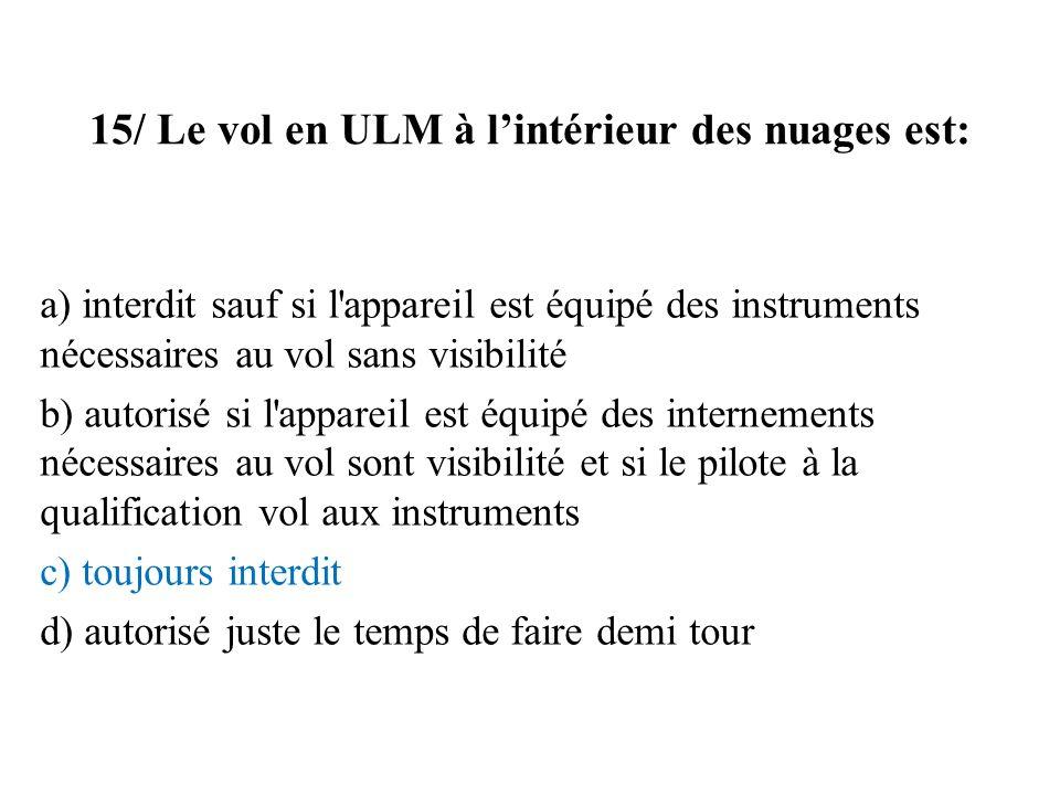 15/ Le vol en ULM à l'intérieur des nuages est: