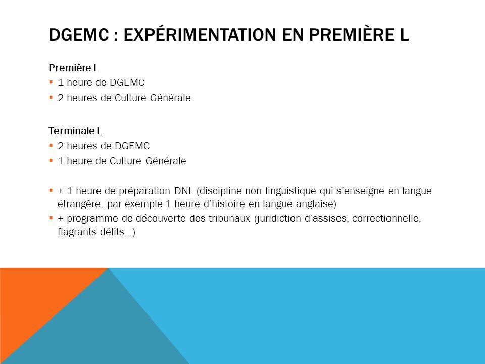 DGEMC : expérimentation en première l