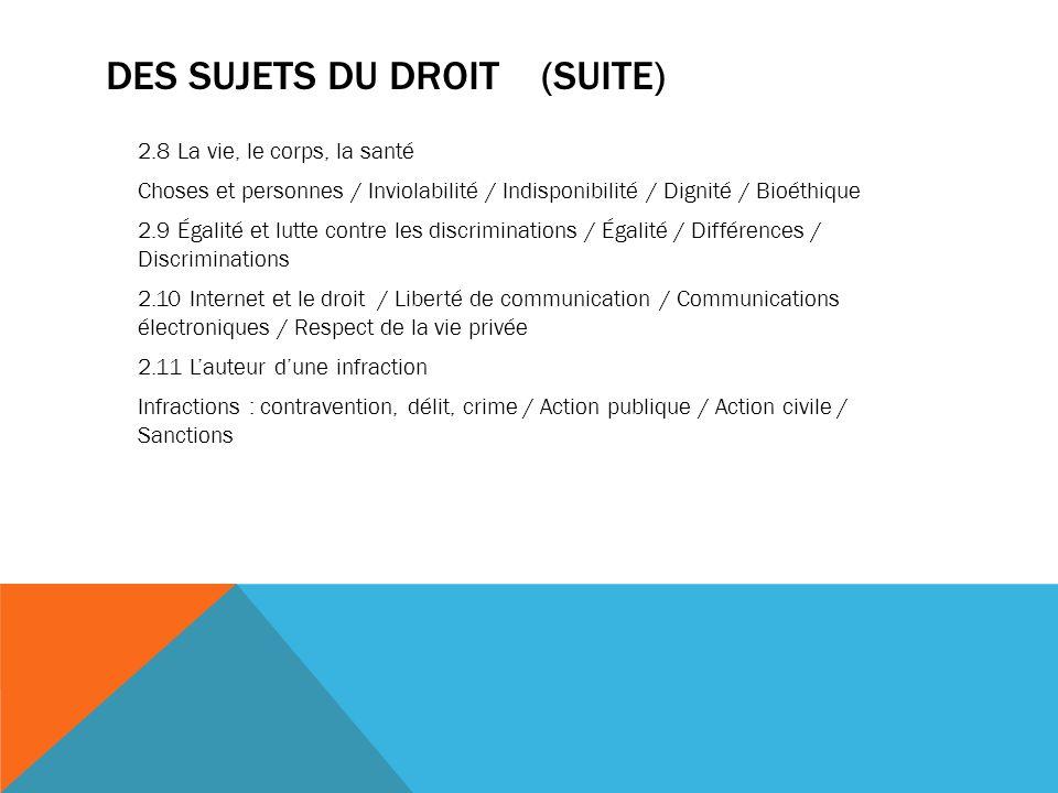 DES SUJETS DU DROIT (suite)