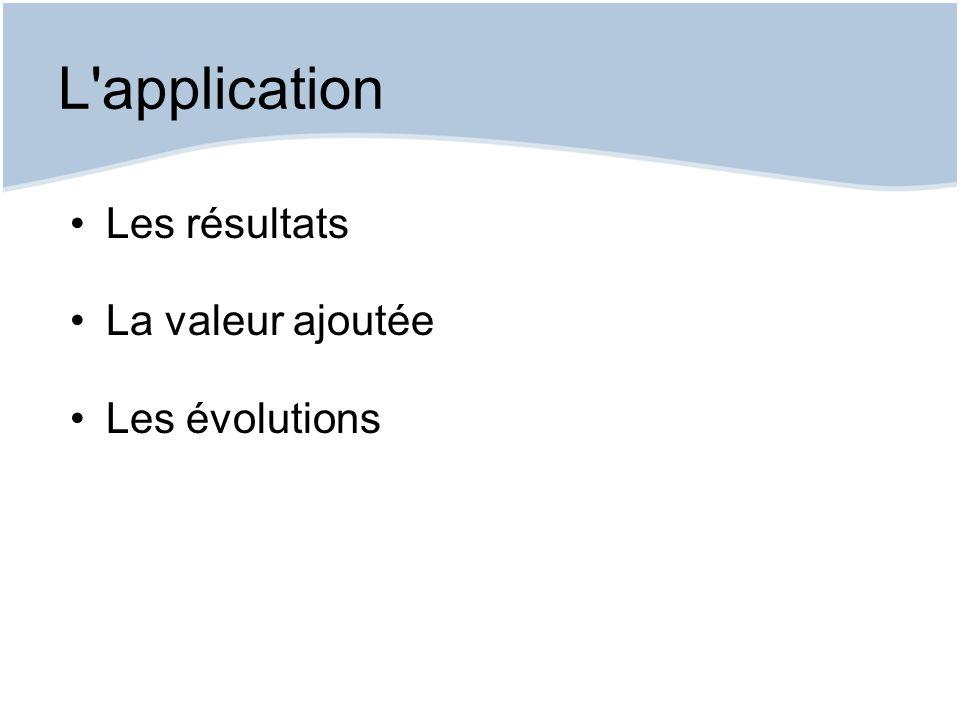 L application Les résultats La valeur ajoutée Les évolutions