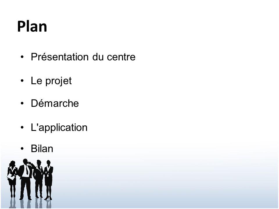 Plan Présentation du centre Le projet Démarche L application Bilan