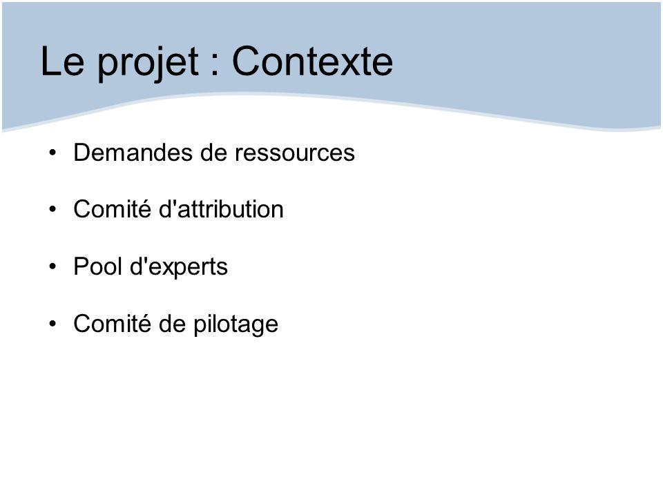 Le projet : Contexte Demandes de ressources Comité d attribution