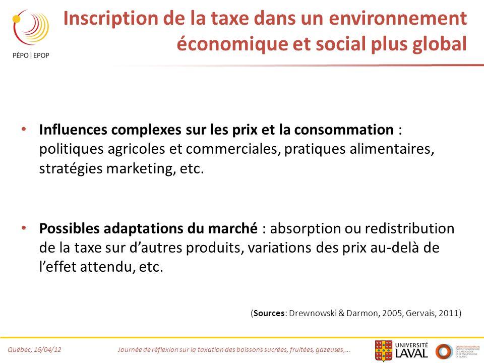 Inscription de la taxe dans un environnement économique et social plus global