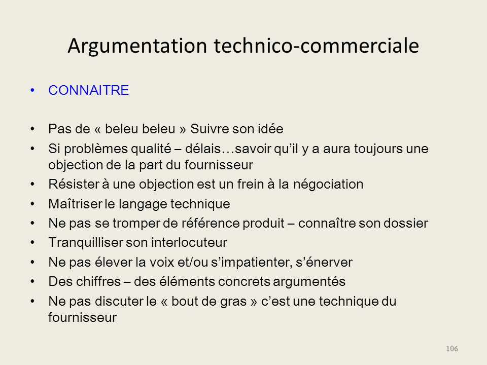 Argumentation technico-commerciale