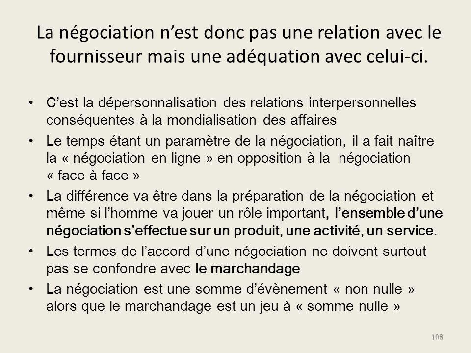 La négociation n'est donc pas une relation avec le fournisseur mais une adéquation avec celui-ci.