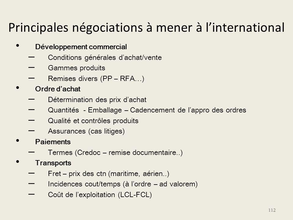 Principales négociations à mener à l'international