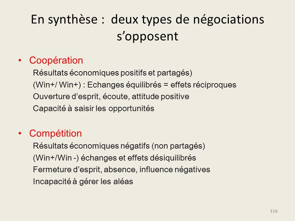 En synthèse : deux types de négociations s'opposent