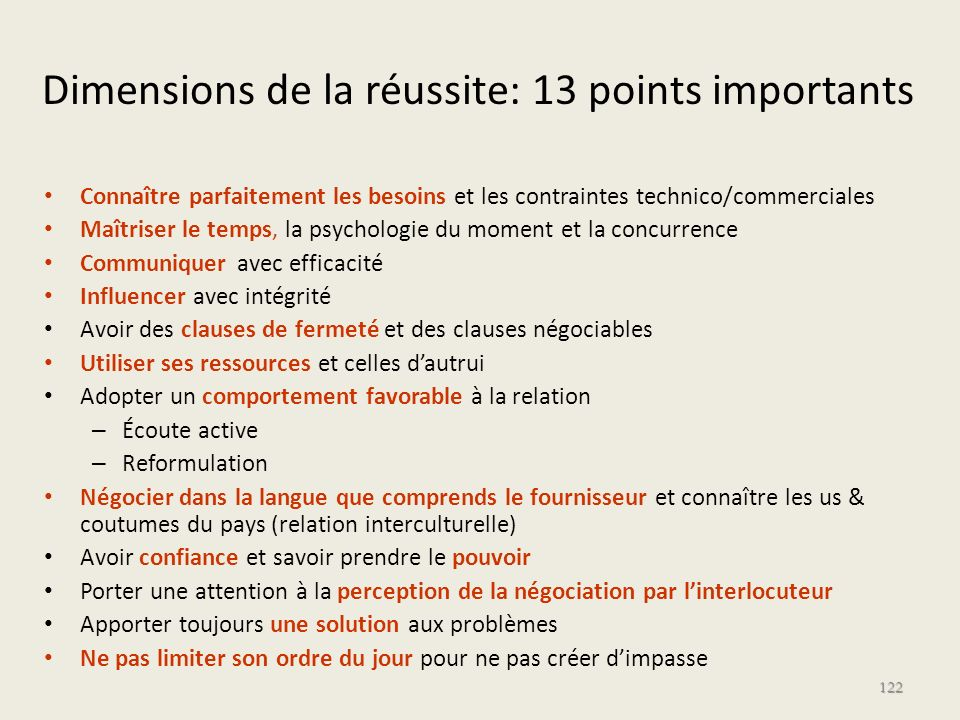 Dimensions de la réussite: 13 points importants