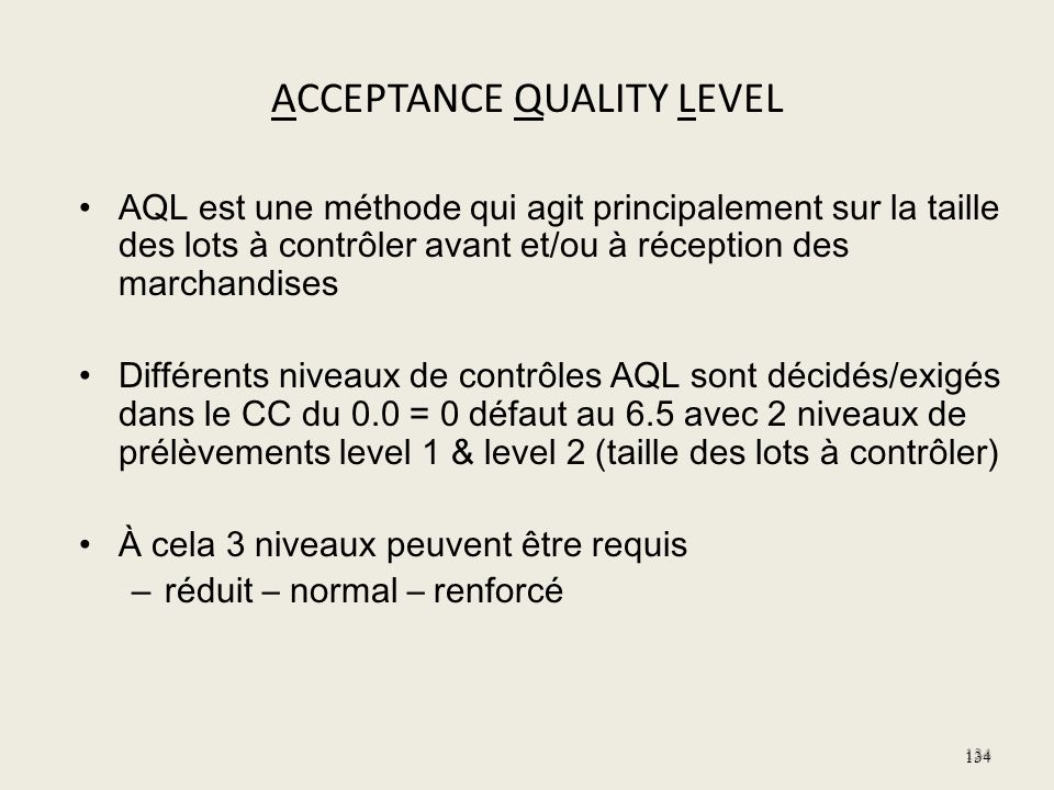 ACCEPTANCE QUALITY LEVEL