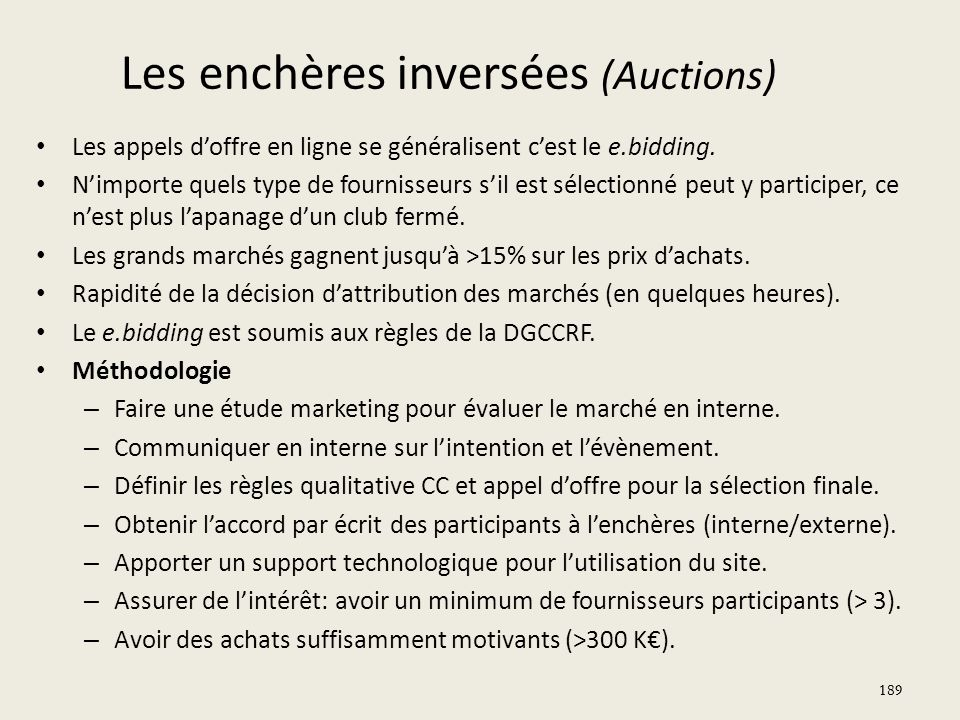 Les enchères inversées (Auctions)