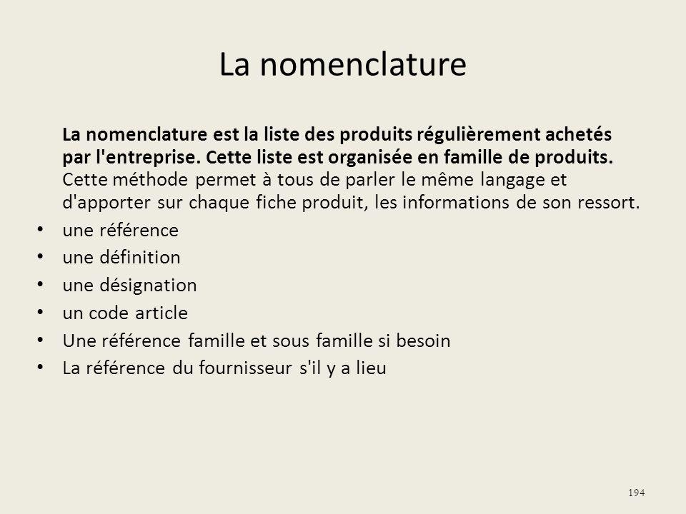 La nomenclature