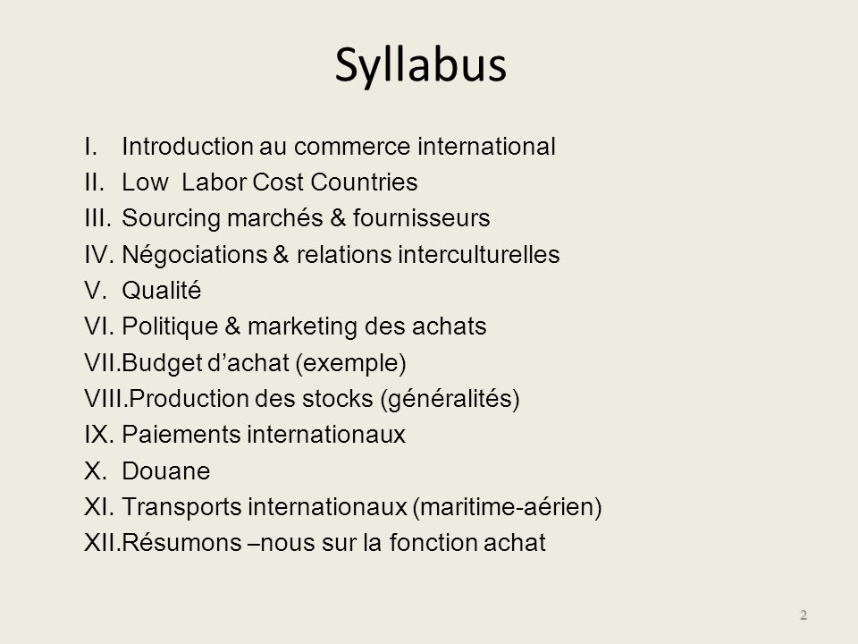 Syllabus Introduction au commerce international