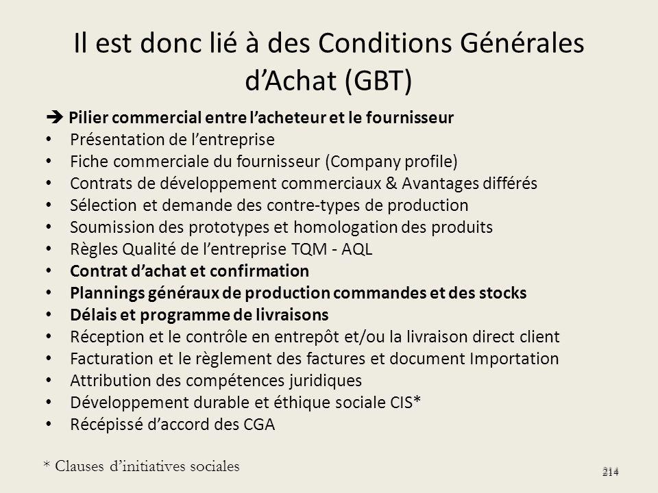 Il est donc lié à des Conditions Générales d'Achat (GBT)