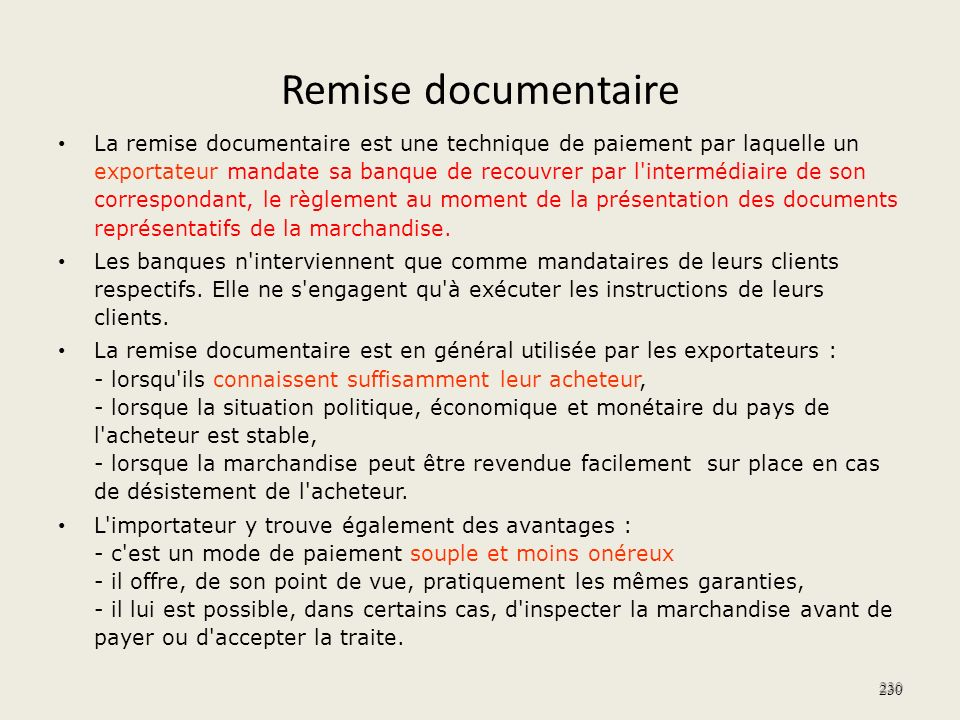 Remise documentaire