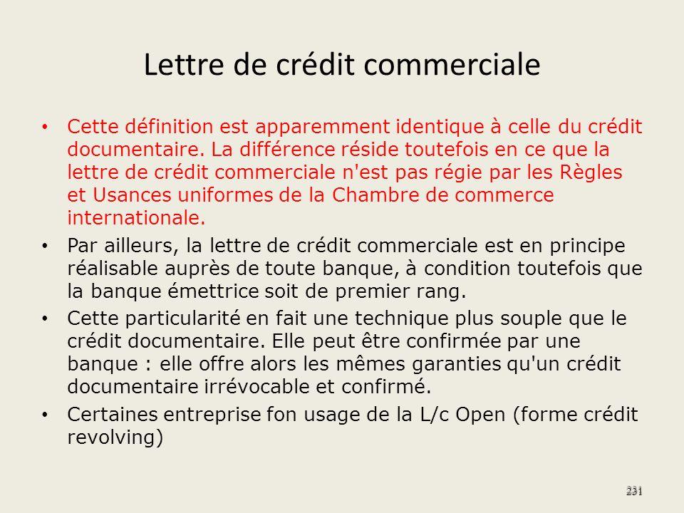 Lettre de crédit commerciale